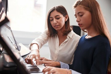 Elternarbeit: Mutter mit Tochter am Klavier