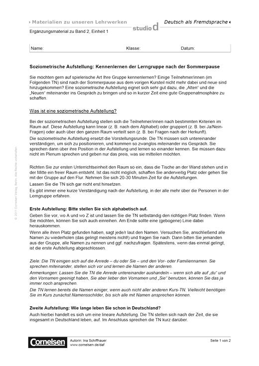 Studio d - Studio d A2, Einheit 1: Kennenlernen im Kurs: Soziometrische Aufstellung - Arbeitsblatt - Webshop-Download