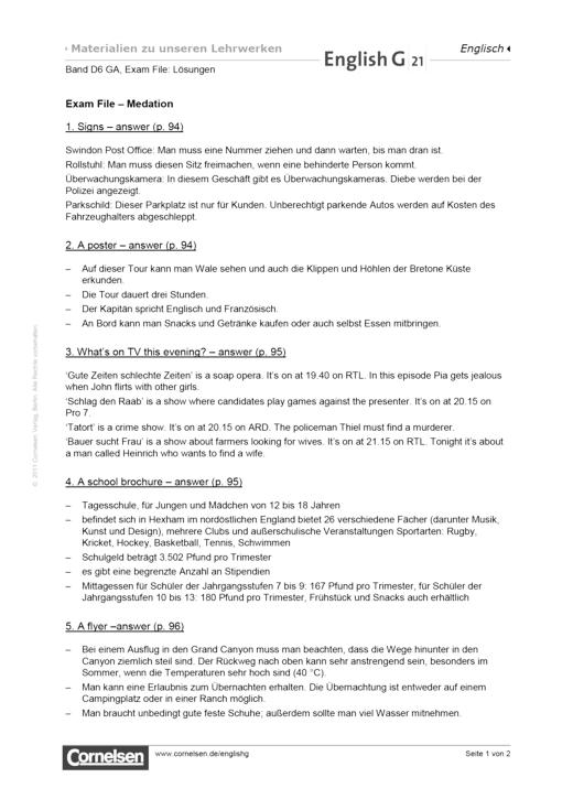 English G 21 - Exam File: Mediation - Lösungen - Band 6: 10. Schuljahr