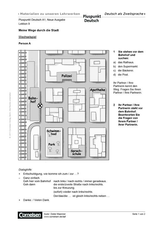 pluspunkt deutsch pluspunkt deutsch neue ausgabe band a1 lektion 9 meine wege durch die. Black Bedroom Furniture Sets. Home Design Ideas