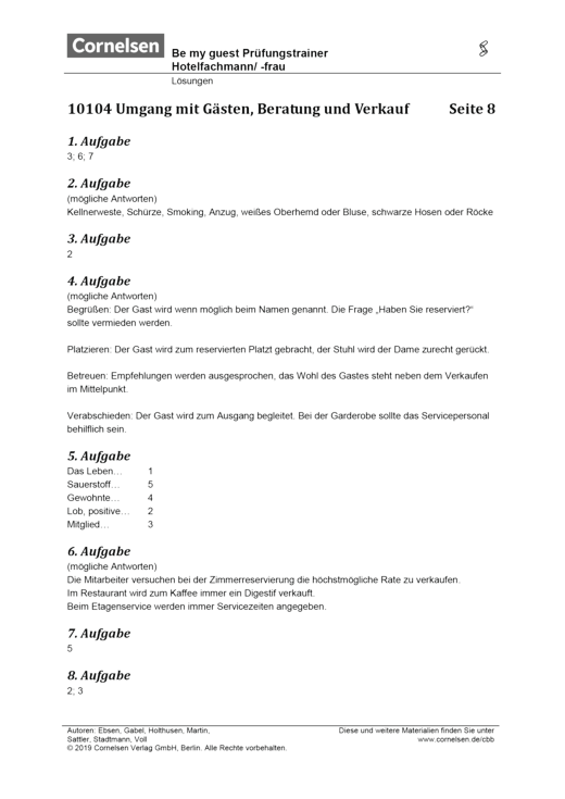 Be my guest - Lösungen Prüfungstrainer Hotelfachmann/-frau - Lösungen - Webshop-Download