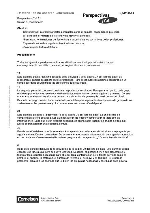 """Perspectivas ¡Ya! - Perspectivas ¡Ya! A1: Unidad 3: """"Profesiones"""" - Arbeitsblatt - Webshop-Download"""