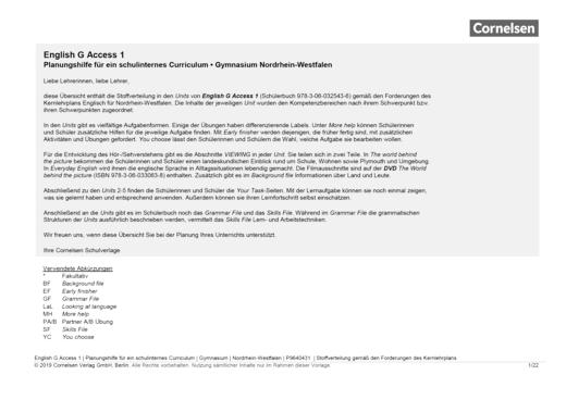 English G Access - Planungshilfe für ein schulinternes Curriculum Nordrhein-Westfalen - Band 1: 5. Schuljahr