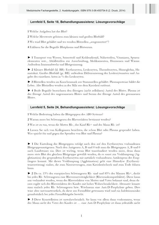 Medizinische Fachangestellte - MFA, 2. Ausbildungsjahr, NB 2013, 2. Druck - Lösungen - Webshop-Download