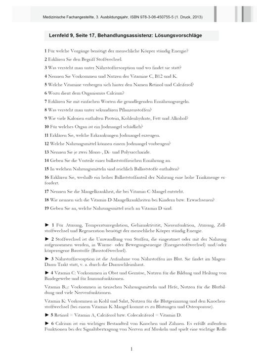 Medizinische Fachangestellte - MFA, 3. Ausbildungsjahr, NB 2013, 1. Druck - Lösungen - 3. Ausbildungsjahr