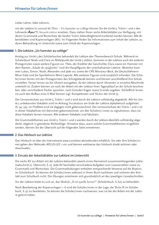 À plus ! - Un hamster au collège: Arbeitsblätter - Arbeitsblatt - Band 1