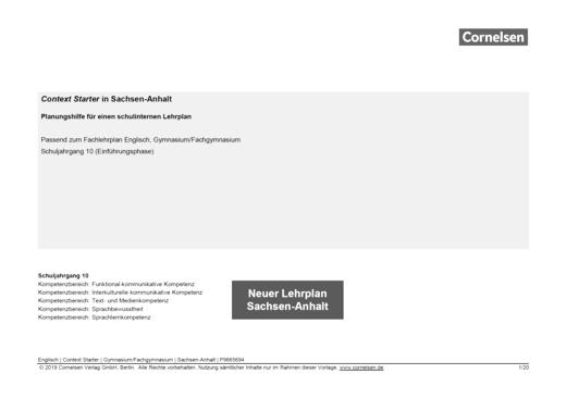 Context Starter - Planungshilfe für Context Starter in Sachsen-Anhalt - Stoffverteilungsplan