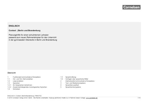 Context - Planungshilfe für einen schulinternen Lehrplan (Berlin/Brandenburg)