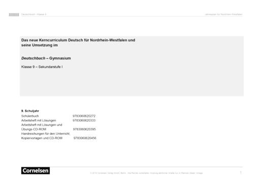Deutschbuch Gymnasium - Der Kernlehrplan für Nordrhein-Westfalen und seine Umsetzung im Deutschbuch 9, Gymnasium Nordrhein-Westfalen - Synopse - 9. Schuljahr