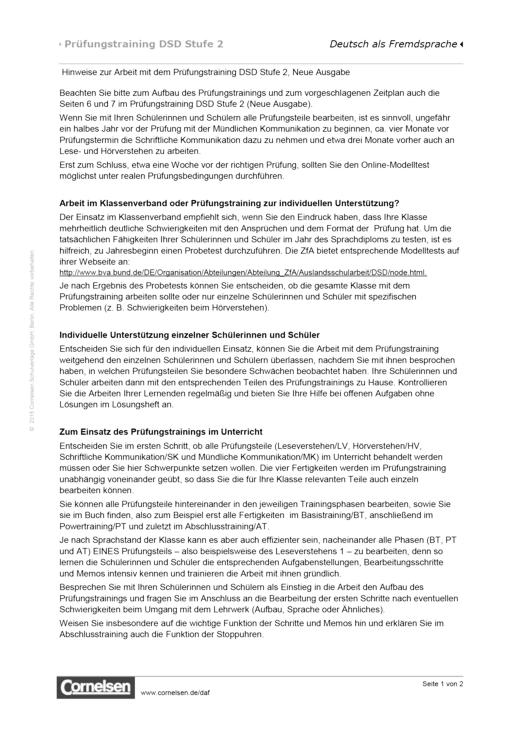 Prüfungstraining DaF - Prüfungstraining DSD-2, Hinweise für Lehrkräfte - Arbeitsblatt - B2/C1
