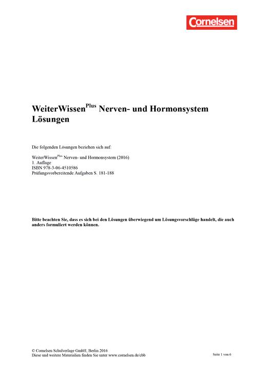 Weiterwissen - Lösungen Weiterwissen Gesundheit – Nerven- und Hormonsystem - Lösungen