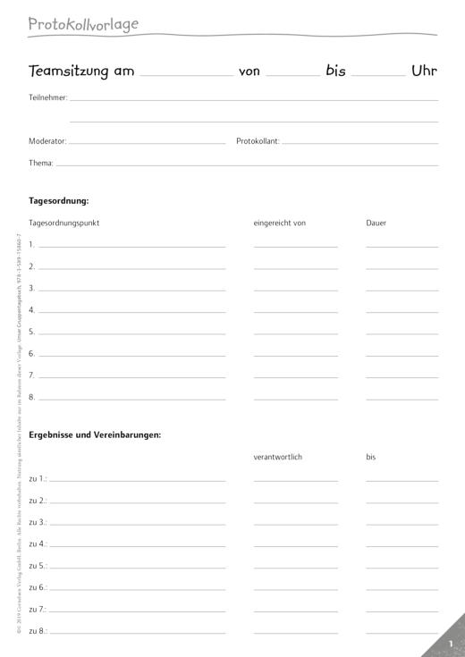 Perfekt organisiert ins neue Kita-Jahr - Protokollvorlage für Teamgespräche - Kopiervorlage