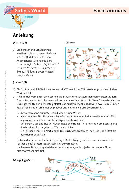 sally farm animals arbeitsblatt webshop download cornelsen. Black Bedroom Furniture Sets. Home Design Ideas