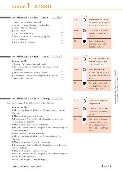 À plus ! - Lösungen zu Fais le point 1 - Lösungen - Band 2