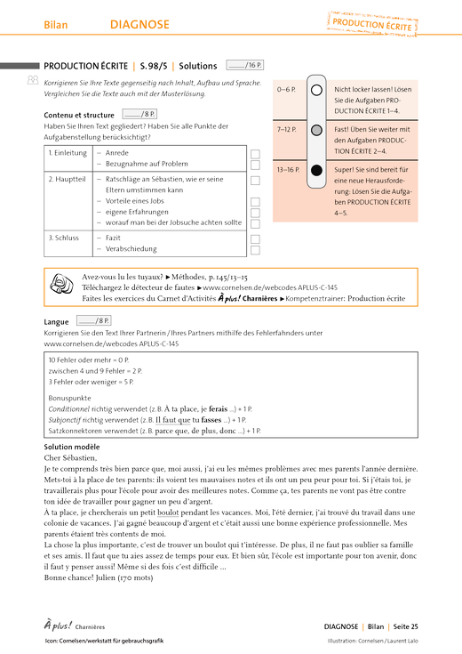 À plus ! - Lösungen zu Bilan – Production écrite - Lösungen - Charnières