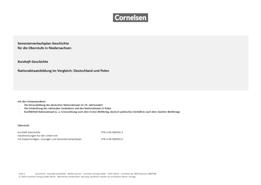 Kurshefte Geschichte - Semesterverlaufsplan zu Kursheft Geschichte | Nationalstaatsbildung im Vergleich: Deutschland und Polen. - Planungshilfe