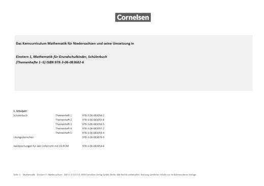 Einstern - Synopse zum neuen Kerncurriculum für Niedersachsen - Band 1