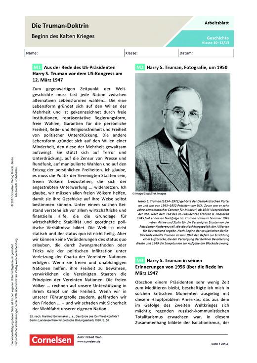 70. Jahre: Truman-Doktrin – Beginn des Kalten Krieges? - Arbeitsblatt - Webshop-Download
