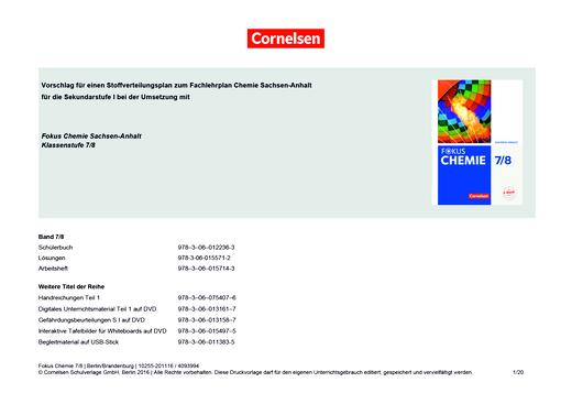 Fokus Chemie - Neubearbeitung - Stoffverteilungsplan zum Fachlehrplan Chemie Sachsen-Anhalt für die Klassenstufe 7/8 - Synopse - Webshop-Download