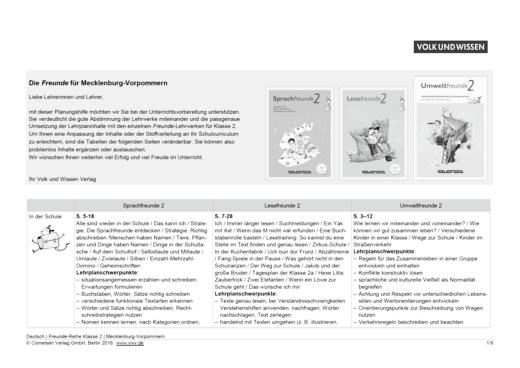 Umweltfreunde - Planungshilfe Sprach-, Lese- und Umweltfreunde 2 Mecklenburg-Vorpommern - Planungshilfe - 2. Schuljahr