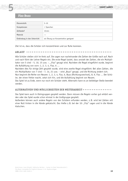Lernen im Spiel Sekundarstufe I - Fizz Buzz - Lernspiel - Arbeitsblatt