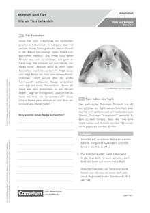 Mensch und Tier – Wie wir Tiere behandeln - Arbeitsblatt
