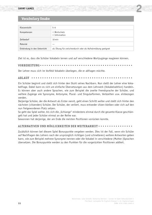Lernen im Spiel Sekundarstufe I - Vokabulary Snake - Lernspiel - Arbeitsblatt