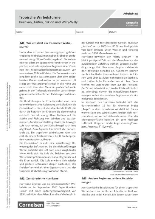Tropische Wirbelstürme – Hurrikan, Taifun, Zyklon und Willy Willy - Arbeitsblatt mit Lösungen