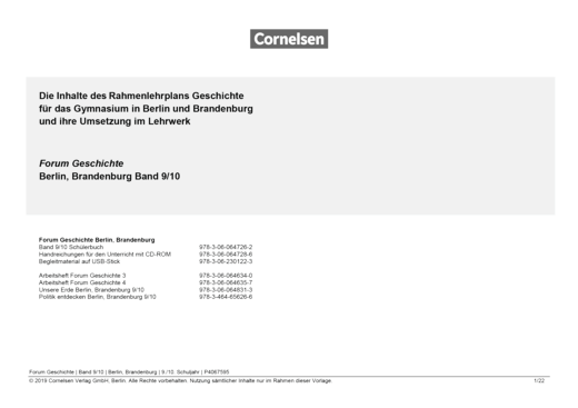 Forum Geschichte - Neue Ausgabe - Synopse - 9./10. Schuljahr