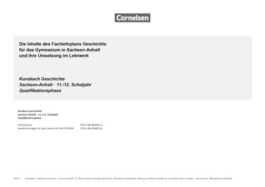 Kursbuch Geschichte - Kursbuch Geschichte 11/12:  Planungshilfe für Gymnasien in Sachsen-Anhalt - Synopse - 11./12. Schuljahr