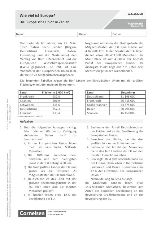 Wie viel ist Europa? – Die Europäische Union in Zahlen. - Arbeitsblatt