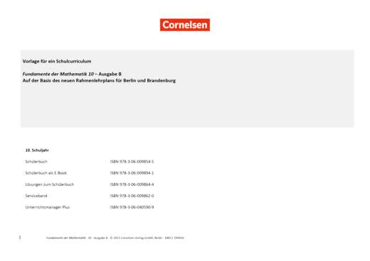 Fundamente der Mathematik - Fundamente der Mathematik Ausgabe B Schulcurriculum 10 - Synopse - 10. Schuljahr