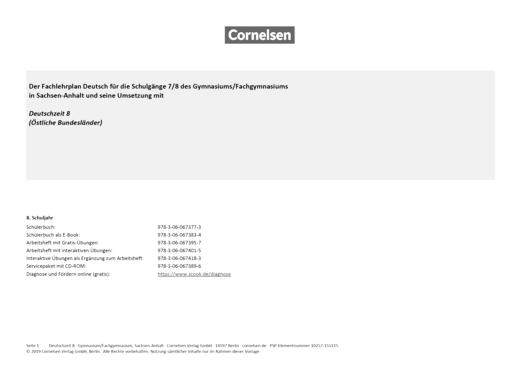 Deutschzeit - Synopse Deutschzeit 8, Gymnasium Sachsen-Anhalt - Synopse - Webshop-Download