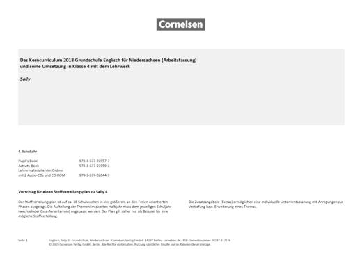 Sally - Stoffverteilungsplan Sally 4 zum Kerncurriculum Niedersachsen - Stoffverteilungsplan - 4. Schuljahr