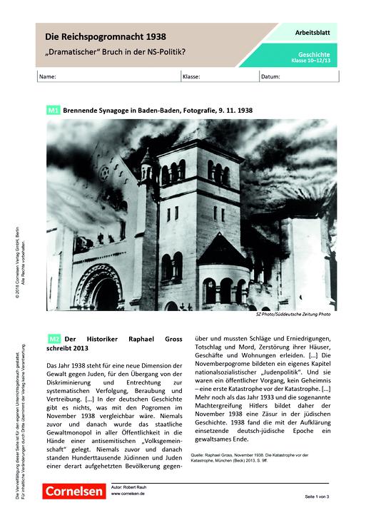 """Die Reichspogromnacht 1938 – """"Dramatischer"""" Bruch in der NS-Politik? - Arbeitsblatt - Webshop-Download"""