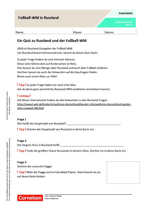 Fussball Wm In Russland Arbeitsblatt Webshop Download