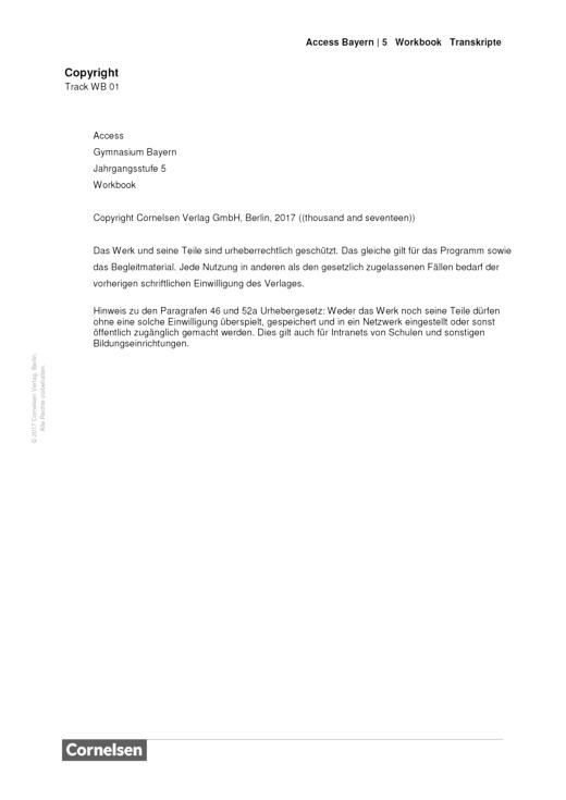 Access - Band 5 – Workbook – Audio-Transkripte - Transkript - Webshop-Download