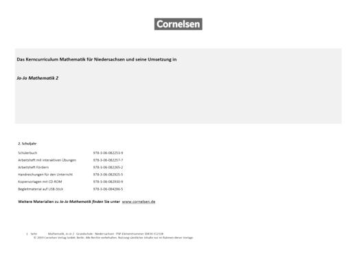 Jo-Jo Mathematik - Synopse für Niedersachsen - 2. Schuljahr