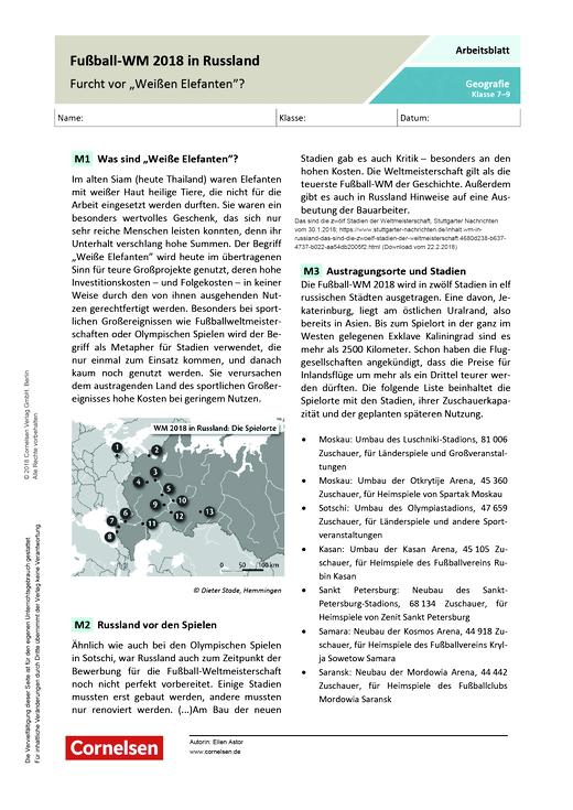 Fußball Wm 2018 In Russland Furcht Vor Weißen Elefanten Arbeitsblatt Webshop Download