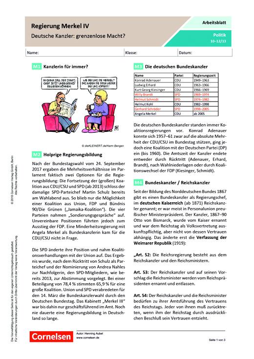Regierung Merkel IV – Deutsche Kanzler: grenzenlose Macht? - Arbeitsblatt - Webshop-Download