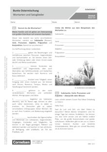 Bunte Ostermischung - Wortarten und Satzglieder - Arbeitsblatt