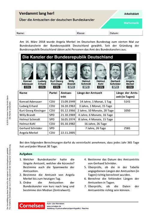 Verdammt lang her – Über die Amtszeiten der deutschen Bundeskanzler - Arbeitsblatt - Webshop-Download