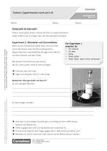 Ostern: Experimente rund um's Ei - Arbeitsblatt