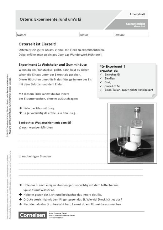 Ostern: Experimente rund um's Ei - Arbeitsblatt mit Lösungen