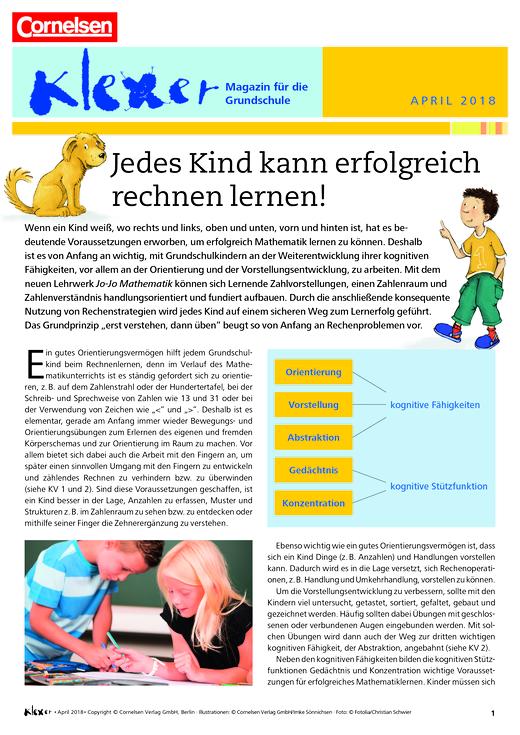 Jedes Kind kann erfolgreich rechnen lernen! - Beitrag aus Kundenmagazin
