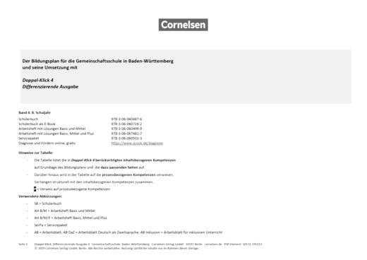 Doppel-Klick - Doppel-Klick Baden-Württemberg Differenzierende Ausgabe 4 / Kompetenzraster für Klasse 8 - Synopse - Webshop-Download