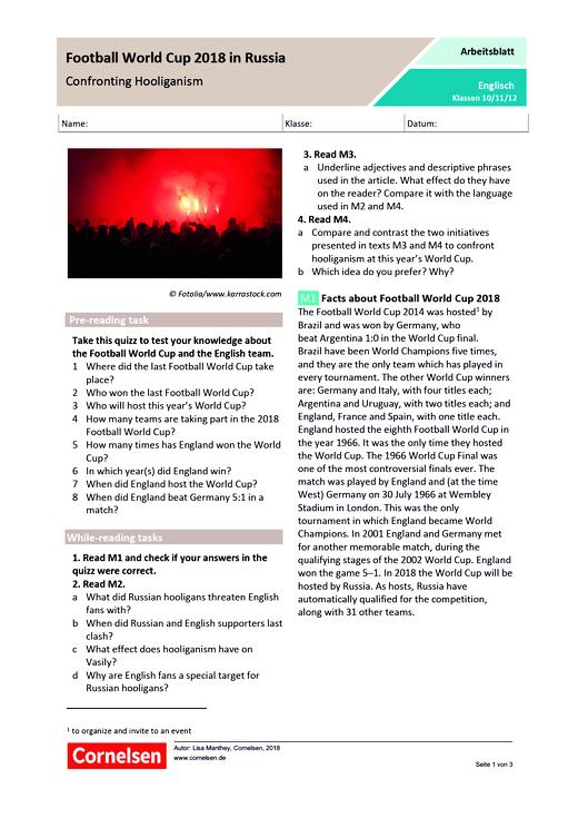 Football World Cup 2018 in Russia. Confronting Hooliganism - Arbeitsblatt - Webshop-Download