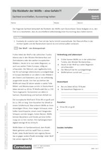 Die Rückkehr der Wölfe – eine Gefahr?! Sachtext erschließen. Kurzvortrag halten. - Arbeitsblatt mit Lösungen