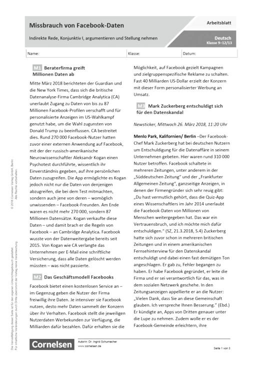 Mißbrauch von Facebook-Daten. Indirekte Rede, Konjunktiv I, argumentieren und Stellung nehmen - Arbeitsblatt