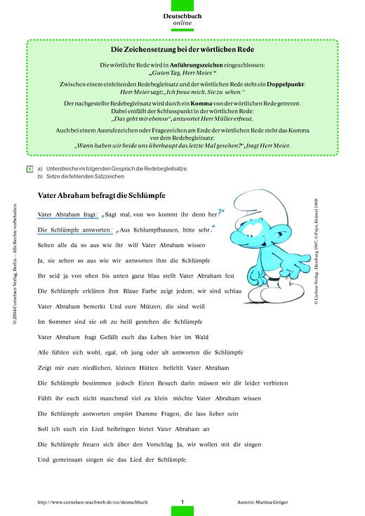 Zeichensetzung Bei Wörtlicher Rede Das Lied Der Schlümpfe Arbeitsblatt Webshop Download